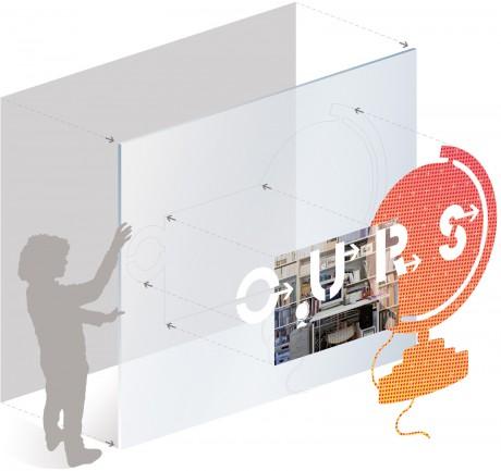 """Tout pour plaire - graphisme de l'exposition """"Détours d'objets"""", de Claude Courtecuisse, au Centre Pompidou - système de la vitrine"""